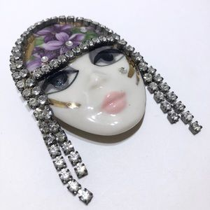 Art Deco porcelain vintage brooch pin